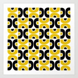 Funky Mid Century Modern Pattern 594 Yellow and Black Art Print