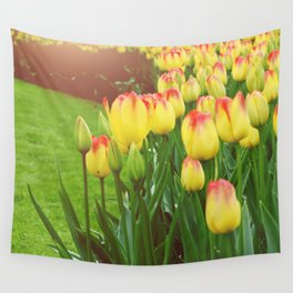 Yellow Red Tulips Wall Tapestry