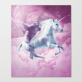 Epic Space Sloth Riding On Unicorn Canvas Print