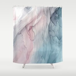 Calming Pastel Flow- Blush, grey and blue Shower Curtain