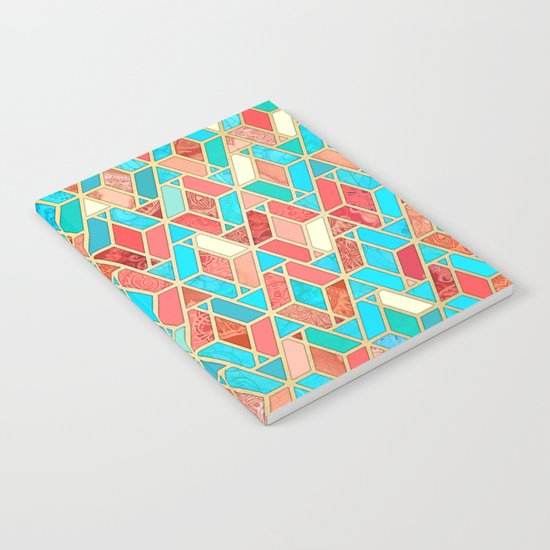 Melon and Aqua Geometric Tile Pattern Notebook