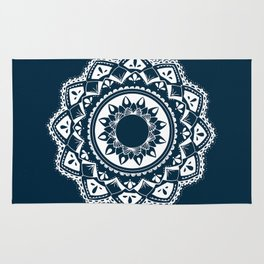 Warrior white mandala on blue Rug