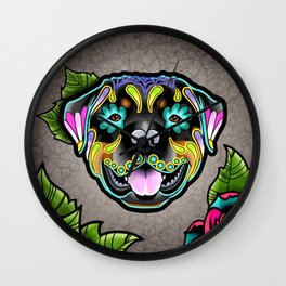 Rottweiler - Day of the Dead Sugar Skull Dog Wall Clock