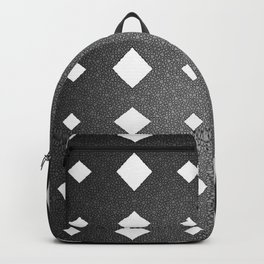 Black and White Leather Texture Diamond Pattern Backpack