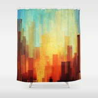 cityscape Shower Curtains featuring Urban sunset by SensualPatterns