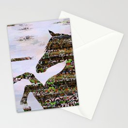 Mixed media abstract horse composition Stationery Cards