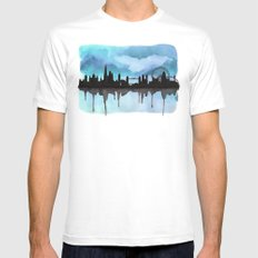Turquoise London Skyline 2 MEDIUM Mens Fitted Tee White