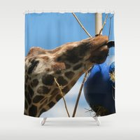 ohm Shower Curtains featuring Ohm, nom, nom! by IowaShots