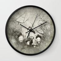 lantern Wall Clocks featuring Vintage Lantern by Victoria Herrera
