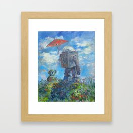 Robot with Parasol Framed Art Print
