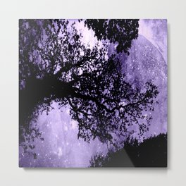 Black Trees Lavender Space Metal Print