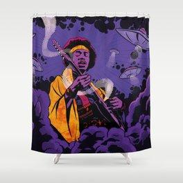 Jimi Hendrix Ufo smoke Shower Curtain