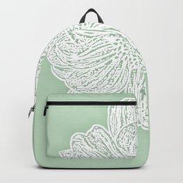 Single White Dahlia Lino Cut, Soft Sage Green Backpack