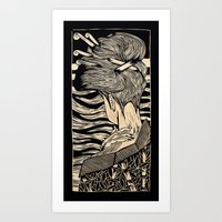 geisha Art Prints featuring Geisha by Mario Sayavedra