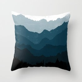 Mists No. 6 - Ombre Blue Ridge Mountains Art Print Throw Pillow
