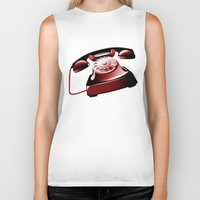 telephone Biker Tanks featuring TELEPHONE by Ylenia Pizzetti