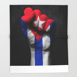 Cuban Flag on a Raised Clenched Fist Throw Blanket
