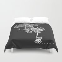los angeles Duvet Covers featuring LOS ANGELES by Nicksman