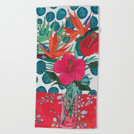Tropical Bouquet in Living Coral and Emerald Green Beach Towel