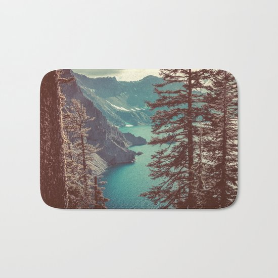 Vintage Blue Crater Lake and Trees Bath Mat