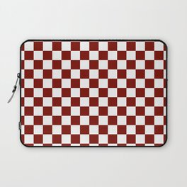 Vintage New England Shaker Barn Red and White Milk Paint Jumbo Square Checker Pattern Laptop Sleeve