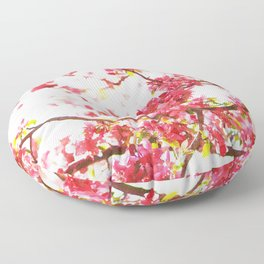 Cherry pink blossoms watercolor painting #6 Floor Pillow