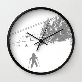 Little Skier - Grey Wall Clock