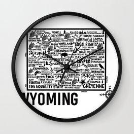 Wyoming Map  Wall Clock