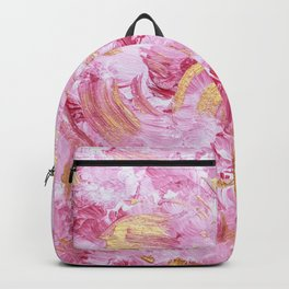 Modern abstract pink gold acrylic paint brushstrokes Backpack