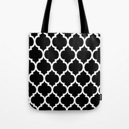 Moroccan Black and White Lattice Moroccan Pattern Tote Bag