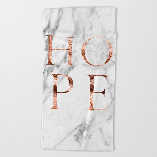 Marble rose gold hope Beach Towel