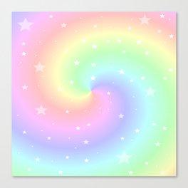Rainbow Swirls and Stars Canvas Print
