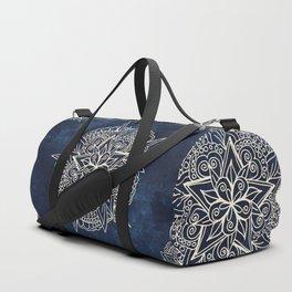 Cream and navy mandala on indigo ink Duffle Bag