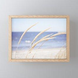 Beach Grass Blue Photography, Coastal Ocean Landscape, Sea Seashore Seascape Shore Framed Mini Art Print