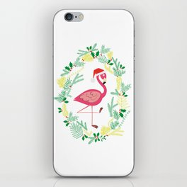 FLAMINGO CHRISTMAS WREATH iPhone Skin