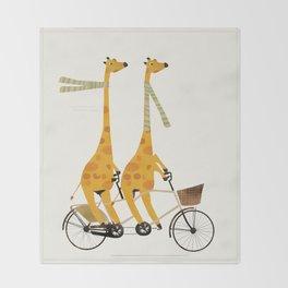 lets tandem giraffes Throw Blanket