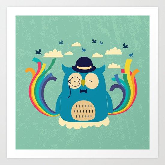 Happy owl with rainbow Art Print