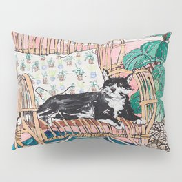 Two Cats - Pink Interior with Cane Chair and Plants Pillow Sham