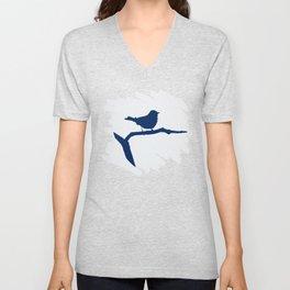 Blue Silhouette Bird Unisex V-Neck