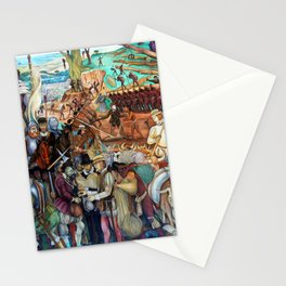Mural of exploitation of Mexico by Spanish conquistadors by Diego Rivera Stationery Cards
