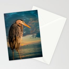 Great Blue Heron and Blue Sunset Stationery Cards
