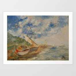 Naples, boats near the sea a print of an original oil on canvas painting of Alfonso Palma  Art Print