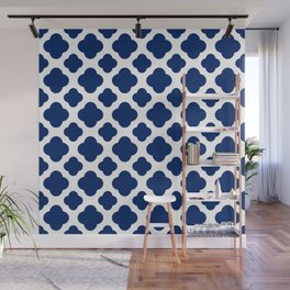 Royal Blue Quatrefoil Wall Mural
