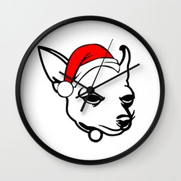 Chihuahua Dog with Christmas Santa Hat Wall Clock