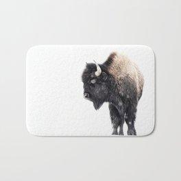 Bison Standing in a Snowstorm Bath Mat