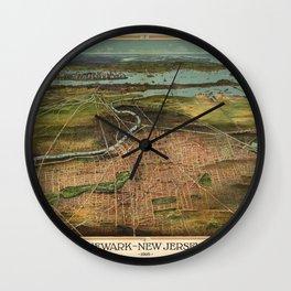 Map Of Newark 1916 Wall Clock