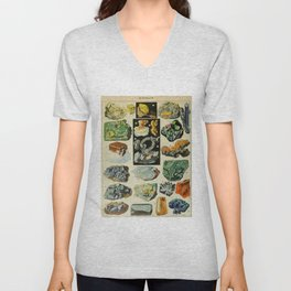 Minerals Vintage Scientific Illustration French Language Encyclopedia Lithographs Educational Unisex V-Neck