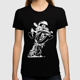 Sportbike motorcycle popping a wheelie cartoon T-shirt