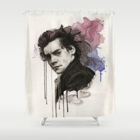 harry styles Shower Curtains featuring Harry Styles by bellavigg