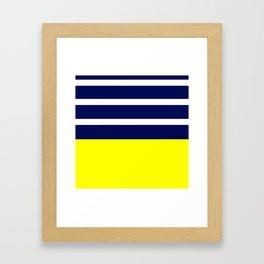 Summer Patio Perfect, Yellow, White & Navy Framed Art Print